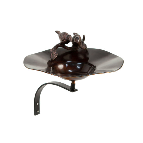 Antiqued Bird Bath with Birds with Wall Mount Bracket