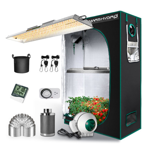 LED Full Spectrum Grow Light and 2 x 4 Tent Kit - TSL 2000 - 300W - Mars Hydro
