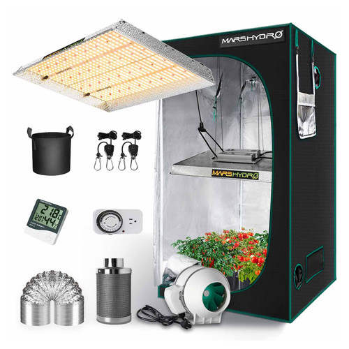 LED Full Spectrum Grow Light and 3 x 3 Tent Kit - TSW 2000 - 300W - Mars Hydro