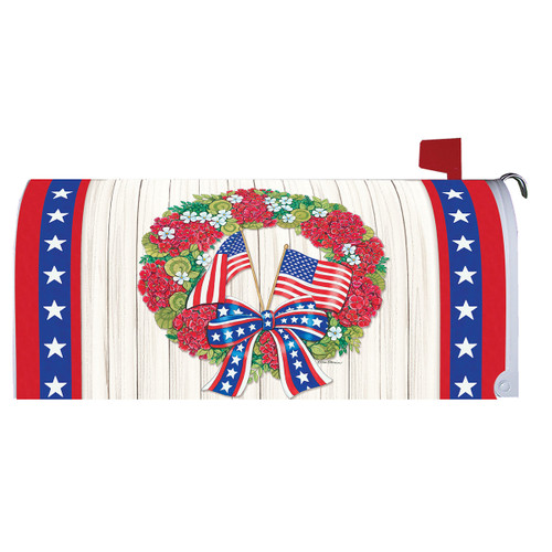 Magnetic Mailbox Cover - Flag Wreath