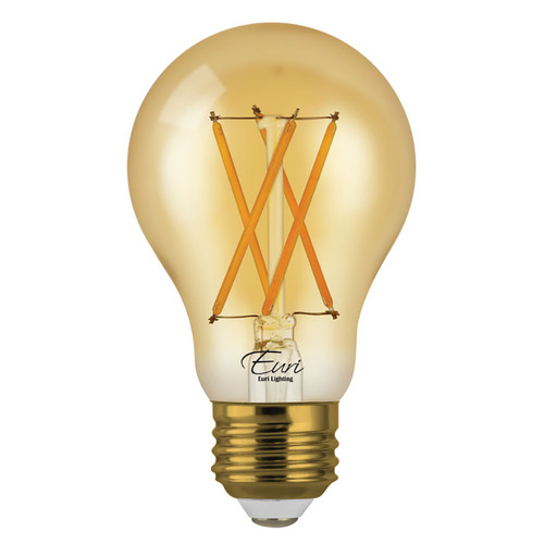 LED A19 Amber Filament - 7 Watt - Dimmable - 40W Equiv - 600 Lumens - Euri Lighting