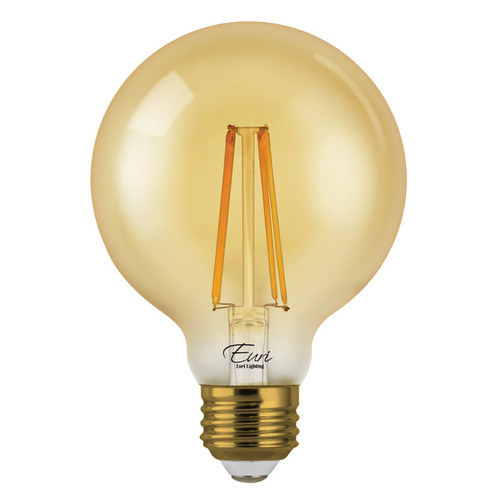 LED G25 Amber Filament - 7 Watt - Dimmable - 75W Equiv - 600 Lumens - Euri Lighting