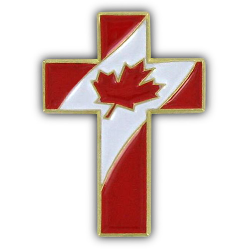 Christian Cross Special Design Pin with Canada  Flag