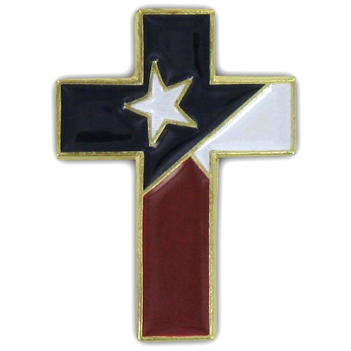 Christian Cross Special Design Pin with Texas  Flag