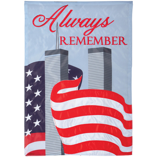 Carson Patriotic Applique Garden Flag - Always Remember