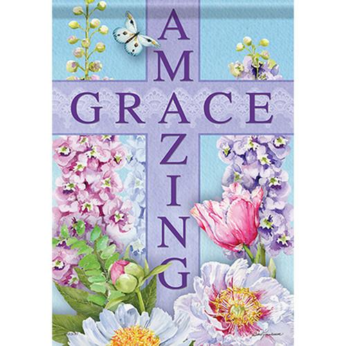 Inspirational Garden Flag - Amazing Grace