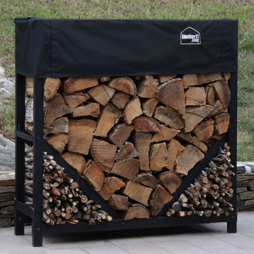 SHELTER-IT 4' Firewood Storage Rack w/ Kindling Storage Area - 1' Cover Included