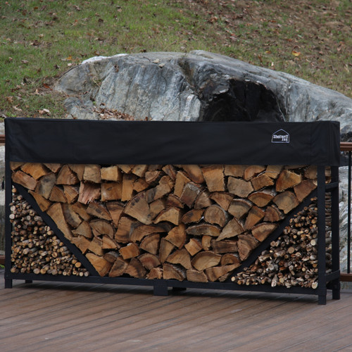 SHELTER-IT 8' Firewood Storage Rack with Kindling Storage Area-1' Cover Included