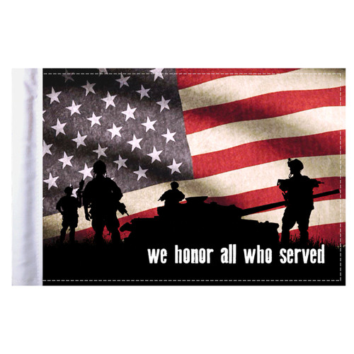 """We Honor All Who Served Motorcycle Flag - 6"""" x 9"""""""