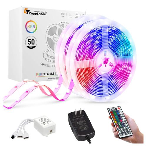 50ft. LED RGB Strip Tape Light - Remote Control - Capetronix