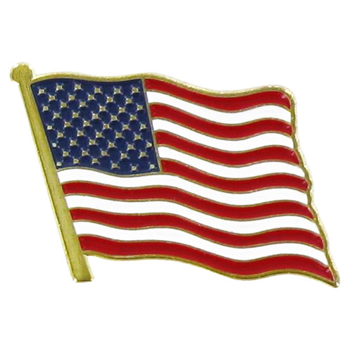 USA Flag Lapel Pin Standard-Shorter Pole - Single