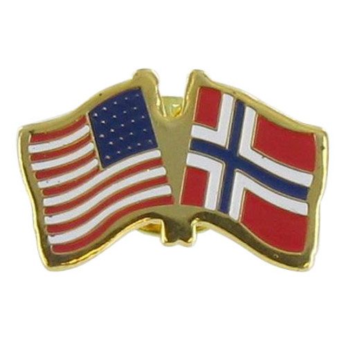 USA and Norway Double Flag Lapel Pin