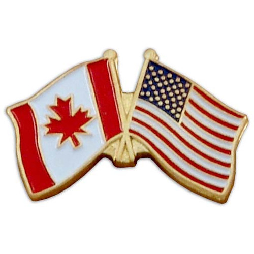 Canada Flag(left) / USA Flag(right) Lapel Pin