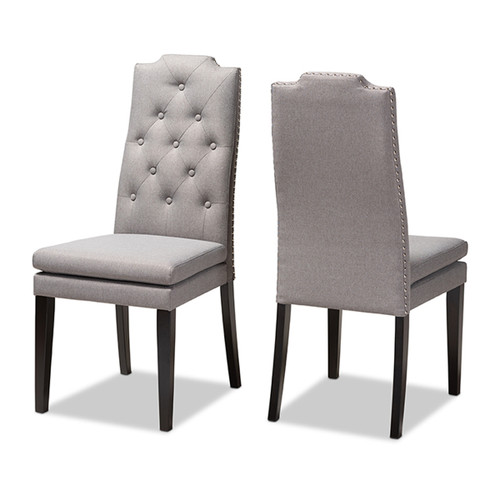 Baxton Studio Dylin Modern and ContemporaryGray Fabric Upholstered Button Tufted Wood Dining Chair Set of 2