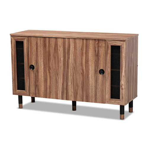 Baxton Studio Valina Modern and Contemporary 2-Door Wood Entryway Shoe Storage Cabinet with Screen Inserts
