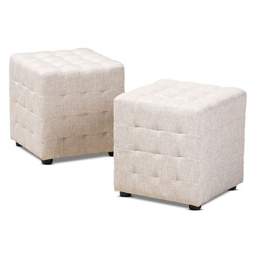 Baxton Studio Elladio Modern and Contemporary Beige Fabric Upholstered Tufted Cube Ottoman Set of 2