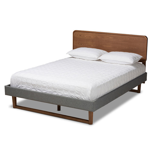 Baxton Studio Ayla Mid-Century Modern  Grey Fabric Upholstered Walnut Brown Finished Wood Queen Size Platform Bed