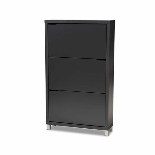 Baxton Studio Simms Modern and Contemporary  Grey Finished Wood Shoe Storage Cabinet with 6 Fold-Out Racks