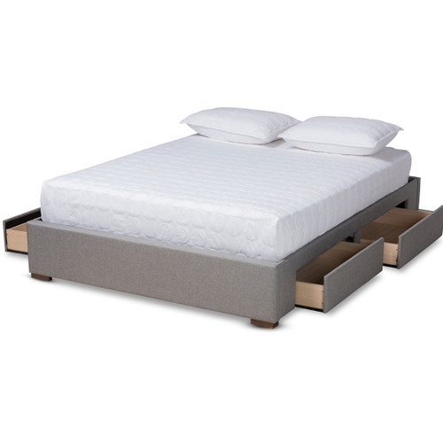 Baxton Studio Leni Modern and Contemporary Light Grey Fabric Upholstered 4-Drawer Queen Size Platform Storage Bed Frame