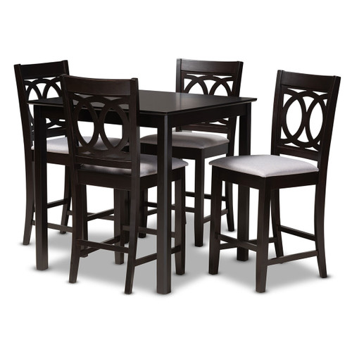 Baxton Studio Lenoir Modern and Contemporary Gray Fabric Upholstered Espresso Brown Finished 5-Piece Wood Pub Set