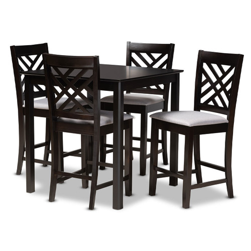 Baxton Studio Caron Modern and Contemporary Gray Fabric Upholstered Espresso Brown Finished 5-Piece Wood Pub Set