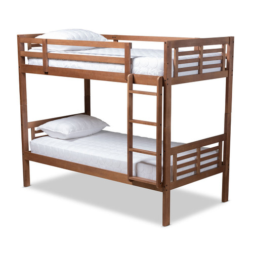 Baxton Studio Liam Modern and Contemporary Walnut Brown Finished Wood Twin Size Bunk Bed
