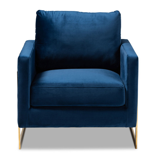Baxton Studio Matteo Glam and Luxe Royal Blue Velvet Fabric Upholstered Gold Finished Armchair