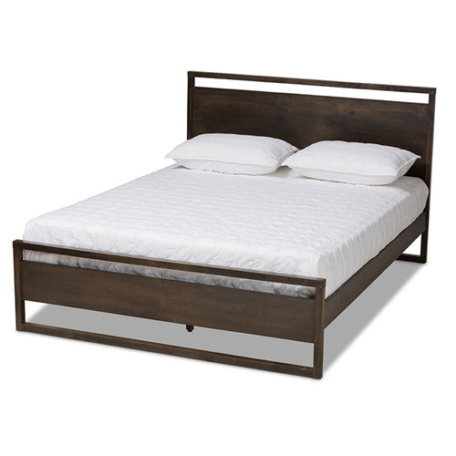 Baxton Studio Inicio Modern and Contemporary Charcoal Brown Finished Wood Queen Size Platform Bed