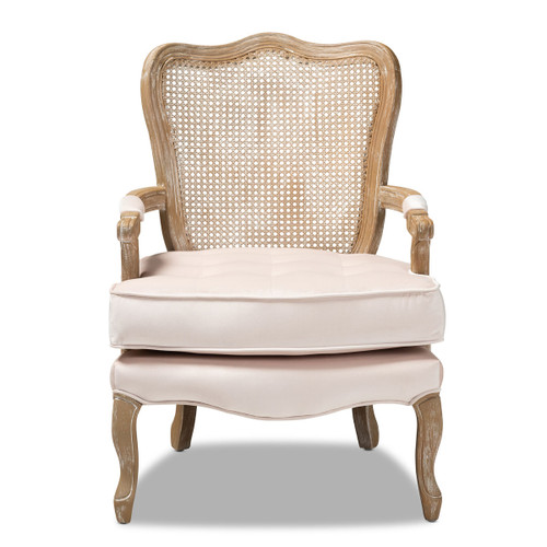Baxton Studio Vallea Traditional French Provincial Light Beige Velvet Fabric Upholstered White-Washed Oak Wood Armchair