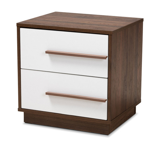 Baxton Studio Mette Mid-Century Modern Two-Tone White and Walnut Finished 2-Drawer Wood Nightstand