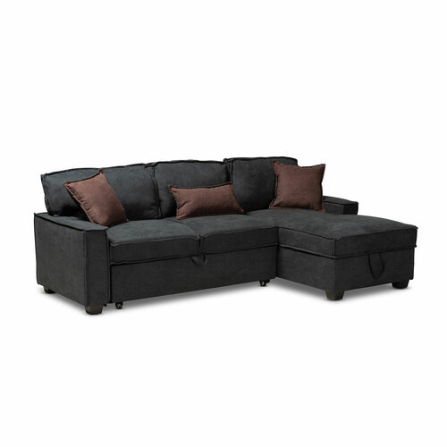 Baxton Studio Emile Modern and Contemporary  Grey Fabric Upholstered Right Facing Storage Sectional Sofa with Pull-Out Bed