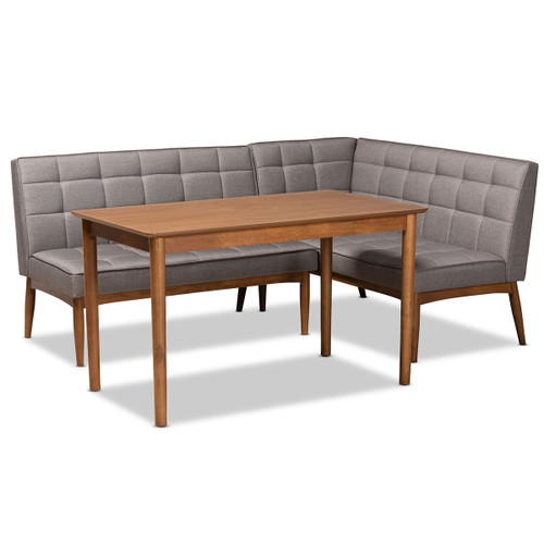Baxton Studio Sanford Mid-Century Modern Grey Fabric Upholstered and Walnut Brown Finished Wood 3-Piece Dining Nook Set