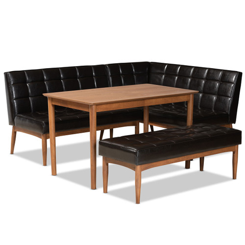 Baxton Studio Sanford Mid-Century Modern Dark Brown Faux Leather Upholstered and Walnut Brown Finished Wood 4-Piece Dining Nook Set
