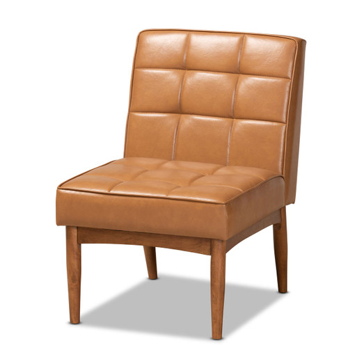 Baxton Studio Sanford Mid-Century Modern Tan Faux Leather Upholstered and Walnut Brown Finished Wood Dining Chair