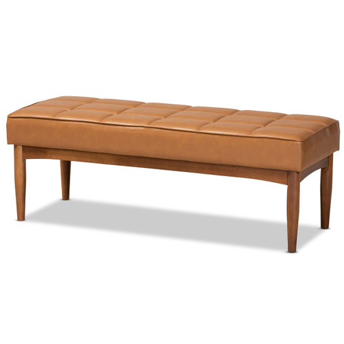 Baxton Studio Sanford Mid-Century Modern Tan Faux Leather Upholstered and Walnut Brown Finished Wood Dining Bench