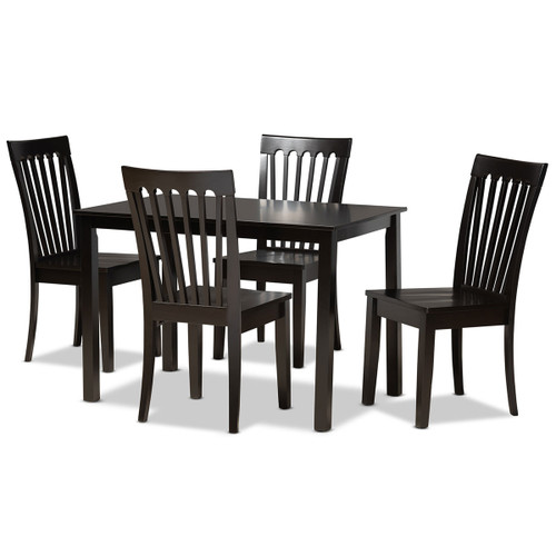 Baxton Studio Erion Modern and Contemporary Dark Brown Finished Wood 5-Piece Dining Set