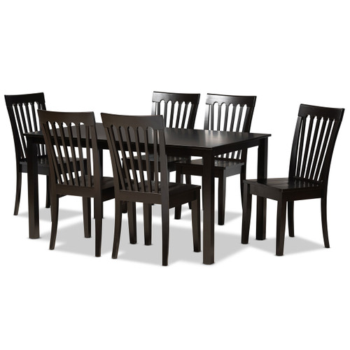 Baxton Studio Erion Modern and Contemporary Dark Brown Finished Wood 7-Piece Dining Set