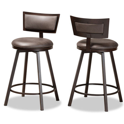 Baxton Studio Danson Modern Industrial Grey Fabric Upholstered and Antique Dark Brown Finished Metal 2-Piece Pub Chair Set