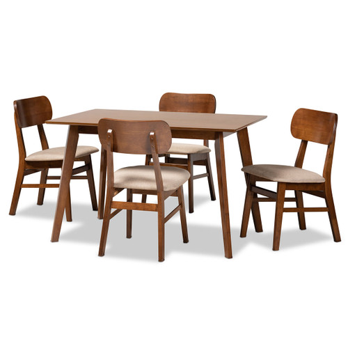 Baxton Studio Euclid Mid-Century Modern Sand Fabric Upholstered and Walnut Brown Finished Wood 5-Piece Dining Set