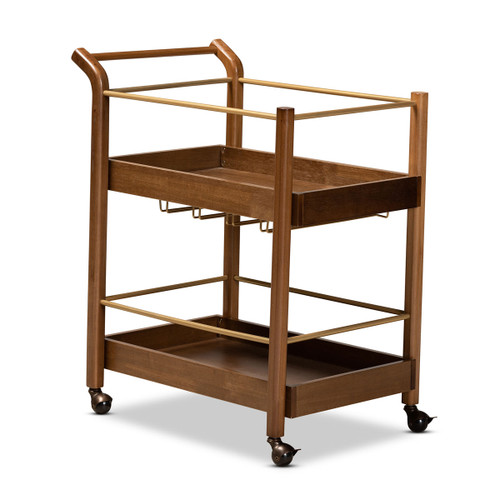 Baxton Studio Tahir Modern and Contemporary Walnut Brown Finished Wood and Antique Gold Finished Metal 2-Tier Mobile Bar Cart