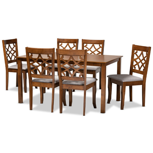 Baxton Studio Mael Modern and Contemporary Grey Fabric Upholstered and Walnut Brown Finished Wood 7-Piece Dining Set
