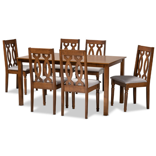 Baxton Studio Cherese Modern and Contemporary Grey Fabric Upholstered and Walnut Brown Finished Wood 7-Piece Dining Set