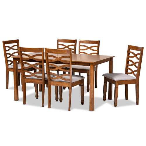 Baxton Studio Lanier Modern and Contemporary Grey Fabric Upholstered and Walnut Brown Finished Wood 7-Piece Dining Set