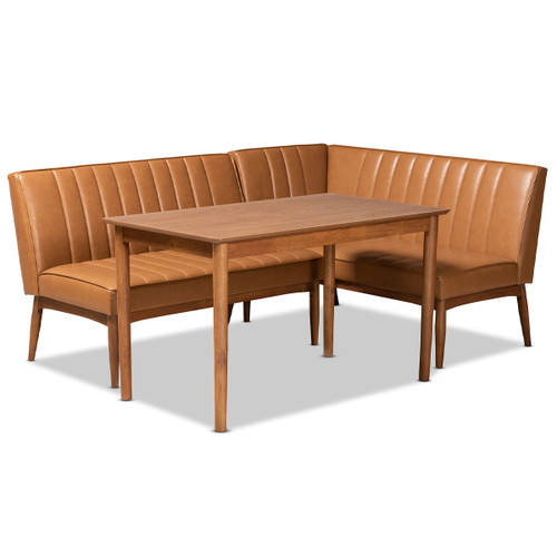 Baxton Studio Daymond Mid-Century Modern Tan Faux Leather Upholstered and Walnut Brown Finished Wood 3-Piece Dining Nook Set