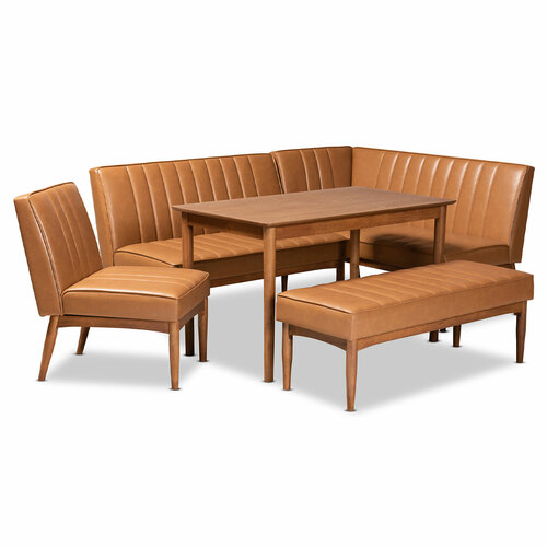 Baxton Studio Daymond Mid-Century Modern Tan Faux Leather Upholstered and Walnut Brown Finished Wood 5-Piece Dining Nook Set