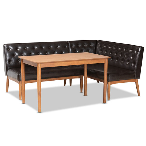 Baxton Studio Riordan Mid-Century Modern Dark Brown Faux Leather Upholstered and Walnut Brown Finished Wood 3-Piece Dining Nook Set