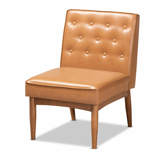 Baxton Studio Riordan Mid-Century Modern Tan Faux Leather Upholstered and Walnut Brown Finished Wood Dining Chair