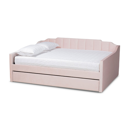 Baxton Studio Lennon Modern and Contemporary Pink Velvet Fabric Upholstered Queen Size Daybed with Trundle