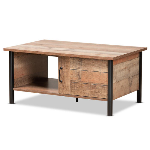 Baxton Studio Vaughan Modern and Contemporary Two-Tone Rustic Oak Brown and Black Finished Wood Coffee Table