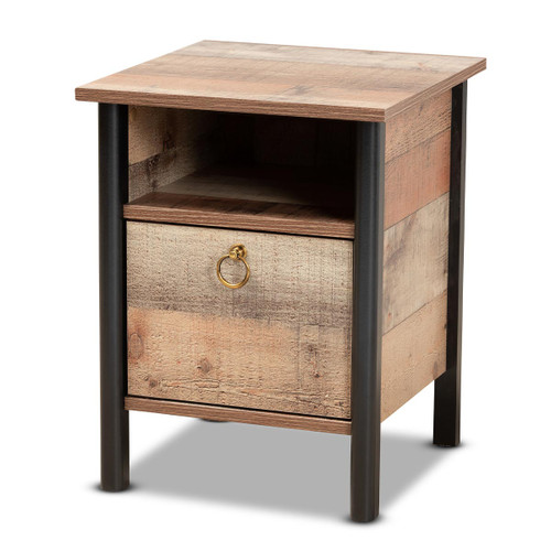 Baxton Studio Vaughan Modern and Contemporary Two-Tone Rustic Oak Brown and Black Finished Wood Nightstand